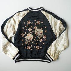 Japanese Souvenir Skull Punk Skeleton Sakura Cherry Blossoms Bomber Jacket / Japan Lover Me Store