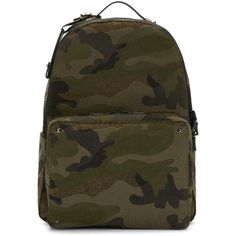 5b316d51fec0 Valentino Green Camo Rockstud Backpack (32.105 ARS) ❤ liked on Polyvore  featuring men's fashion
