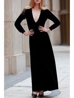 Black Velvet Plunging Neck Long Sleeve Dress - BLACK L