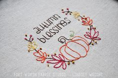Autumn Blessings Free Embroidery Pattern