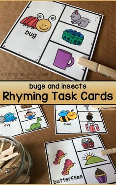 Printable Bugs and Insects Rhyming Task Cards for preschool, pre-k, and kindergarten. Insect Activities, Rhyming Activities, Preschool Literacy, Early Literacy, Kindergarten Activities, Spring Activities, Toddler Themes, Bugs And Insects, Phonological Awareness