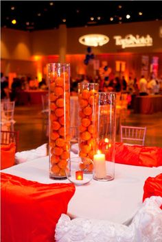 Kumquats will fill lamp bases like this. Orange Centerpieces, Fall Wedding Centerpieces, Simple Centerpieces, Flower Centerpieces, Wedding Decoration, Orange And Pink Wedding, Dream Wedding, Wedding Day, Table Manners