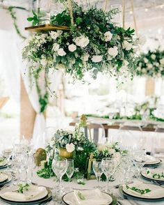 Lush greenery wedding reception, centerpieces, tablescape, white and green with gold, hanging floral chandelier - Table Settings Hanging Flowers Wedding, Hanging Wedding Decorations, Wedding Reception Flowers, Wedding Reception Centerpieces, Wedding Table, Wedding Ceremony, Reception Ideas, Reception Food, Wedding Venues