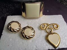 Vintage Avon Gold Polished Cuff Bracelet Cream Stone Earrings & Brooch Mix Lot  #Avon