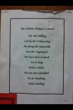Athletic trainers lament - thanks sara!  may print this for my office.