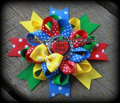 Round Boutique I love school boutique hair bow by tootoocute4you