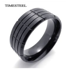 Fashion Men's Jewelry Men's Titanium 316L Stainless Steel Ring Grooves Design Cool Black Free Shipping