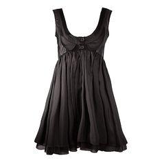Louis De Gama Black Low Neckline Peter Pan Leather Lapel Dress ($236) ❤ liked on Polyvore