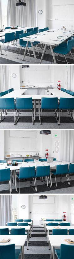 A room for all reasons: training, presentations, brainstorms, board meetings... the average conference room has to adapt to many different roles. When the furniture is quick and easy to rearrange, one room can do the job of many.