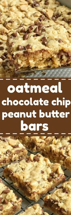 Oatmeal chocolate chip peanut butter bars are a family favorite dessert recipe that everyone loves. Soft cookie bars loaded with oatmeal, peanut butter, peanut butter chips, and chocolate chips. These are a peanut butter & chocolate lovers dream and they come together quickly | togetherasfamily.com