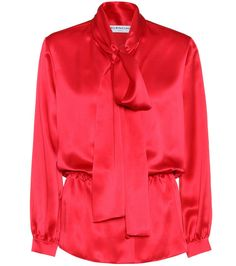 BALENCIAGA - Silk-satin blouse - Balenciaga's SS17 collection was all about bold colours and fearless silhouettes. This red top comes with chic button detailing, glossy lustre and a flattering peplum waist. Channel the brand's styling and partner yours with second-skin bottoms. - @ www.mytheresa.com