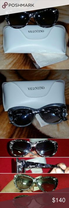New & Authentic Valentino Lace Sunglasses New & Authentic Valentino Sunglasses. Cat-Eye shape. Acetate/Plastic with Silver Hardware. Lace Inset Detail. Authentic Valentino Case and Cloth Included. Style Number: V6286S 049 135. Message Me an Offer. $115w/ship for PP-Gift. Valentino Accessories Sunglasses