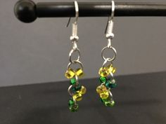 Green and Yellow dangle earrings by SdRDangle on Etsy