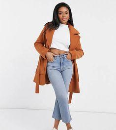 Fashion Union Petite wrap coat with belt Asos, Fashion Forms, Wrap Coat, Kappa, Latest Trends, Duster Coat, Fit, Lapels, Shopping