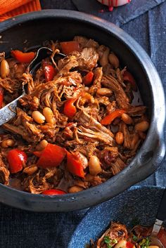 Make this hearty stew using slow cooked pork and spoil yourself and the family! Find out how to make smokey pulled pork stew with beans, peppers and orange gremolata at Tesco Real Food today! Tesco Real Food, Real Food Recipes, Cooking Recipes, Healthy Recipes, Slow Cooking, Healty Meals, Cooking Stuff, Dishes Recipes, Savoury Recipes