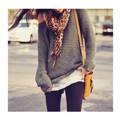 Oversized comfy sweater, leggings, and a scarf--so excited for fall fashion!