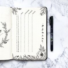 Bullet journal monthly habit tracker, flower drawing. | @thebujobuzz