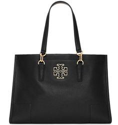 NWT Tory Burch Britten Leather Large Logo Tote Shoulder Bag Black $525 #ToryBurch #TotesShoppers
