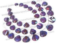 Purple Copper Turquoise Smooth Heart (Quality AAA) / 13.5 to 15 mm / 17 to 19 Grms / 18 cm / TU-006 by GemstoneWholesaler on Etsy