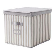 """$7.99 13""""W x 15 1/4""""L x 13""""H SVIRA Box with lid, gray, white stripe gray/white stripe 13x15 ¼x13"""