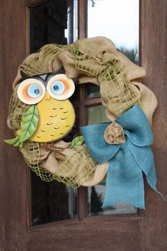Burlap Owl Wreath 26 by CellaJaneCreations on Etsy, $83.00