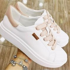 Learn how to clean white sneakers (Click in photo to watch). Cute Sneakers, Girls Sneakers, Girls Shoes, Sneakers Fashion, Fashion Shoes, Shoes Sneakers, Girls Footwear, Women's Shoes, Pretty Shoes