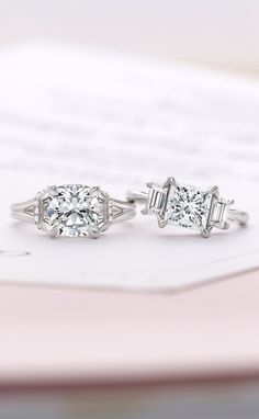 Love these stunning diamond engagement rings with a modern feel.