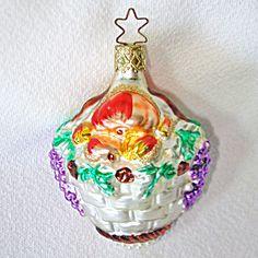 INGE GLAS GREEN FANCY STRIPES TEARDROP GERMAN GLASS CHRISTMAS ORNAMENT ICICLE