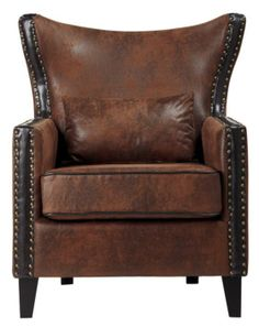 Reinvent your living space with a stylish outlook with this Home Decorators Collection Meloni Dark Beige Linen Bonded Leather Arm Chair.