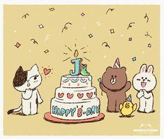 LINEFRIENDS PIC | GIFs, pics and wallpapers by LINE friends Sanrio Characters, Anime Characters, Line Cony, Friend Birthday, Happy Birthday, Simple Character, Cute Animal Illustration, Line Friends, Happy B Day