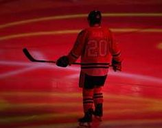 Brandon Saad #20 of the Chicago Blackhawks skates during player introduction before taking on the Columbus Blue Jackets at the United Center #Blackhawks #ChicagoBlackhawks #Hawks http://www.fansedge.com/Brandon-Saad-Chicago-Blackhawks-on-2242013-_-773673054_PD.html?social=pinterest_pfid77-30624