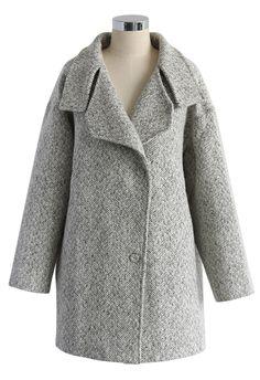 Grey the Classy Cocoon Tweed Coat - sale - Retro, Indie and Unique Fashion