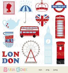 London Clip Art Set-city clipart UK England by dariakonik