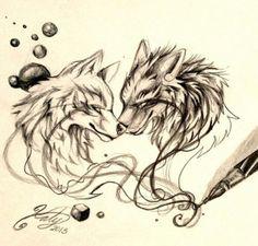 Image via We Heart It https://weheartit.com/entry/133218022 #art #black&white #drawing #Dream #wolf #lobos