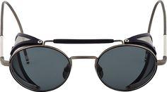Metal and acetate round sunglasses in navy & gunmetal grey. Round frames.  http://zocko.it/LEUer