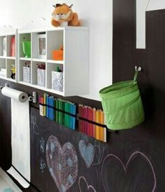 Playroom. Velcro strip and velcro around chalk and colored pencils. stick them to the wall, brilliant!