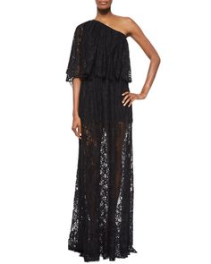 Alexis Sheer Lace One-Shoulder Maxi Dress, Women's, Size: L, Black