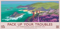 """Pack up your troubles"" Pembrokeshire Coast National Park Railway Travel Poster (AddoCreative) Art Deco Fireplace, Posters Uk, Retro Posters, Pembrokeshire Coast, Art Deco Buildings, Art Deco Home, What A Wonderful World, Art Deco Design, Vintage Travel Posters"