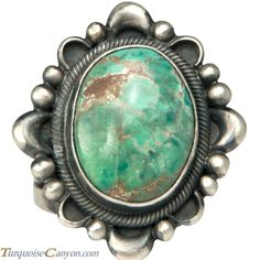 Navajo Native American Carico Lake Turquoise Ring Size 6 3/4