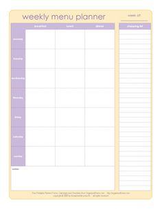 Menu Planner and List