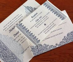 sunita letterpress wedding invitation by invitations by ajalon