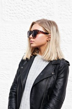 The lob is the hairstyle of the season. Matched with cat eye sunglasses and you're onto a chic winner.