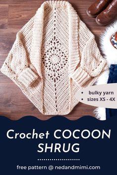 Pull Crochet, Mode Crochet, Crochet Diy, Chunky Crochet, Crochet Woman, Crochet Tops, Crochet Sweaters, Double Crochet, Gilet Crochet