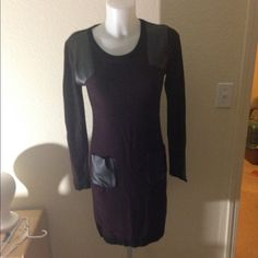 W118 by Walter Baker Dress Maroon and black sweater dress with pleather detailing. No holes or stains. W118 by Walter Baker Dresses