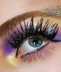 sexy eyeshadow ideas | Dramatic Sexy Eye Makeup Ideas: Crazy glittery lilac yellow eye makeup ...