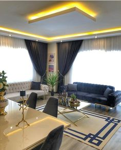 Living Room And Kitchen Design, Small Living Room Layout, Living Room Partition Design, Blue Living Room Decor, Elegant Living Room, Home Room Design, Living Room Interior, Home Interior Design, Living Room Designs