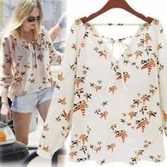 Women Summer Casual Long Sleeve Tether Blouse Chiffon Floral T-Shirt   | eBay