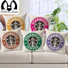 MHome Fashion Modern minimalist Starbucks Linen Cotton Cushions for sofa home car Decorative pillows almofadas-in Cushion Cover from Home, Kitchen & Garden on Aliexpress.com | Alibaba Group