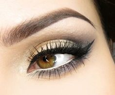 everyday makeup inspiration for brown eyes: soft gold + grey + cateye liner