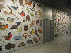 Charley harper space for all species mural john weld for Charley harper mural